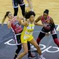 Tinara Moore (középen) legutóbb a spanyol női kosárlabda-bajnokság legjobbja lettFORRÁS: TWITTER /origo.hu