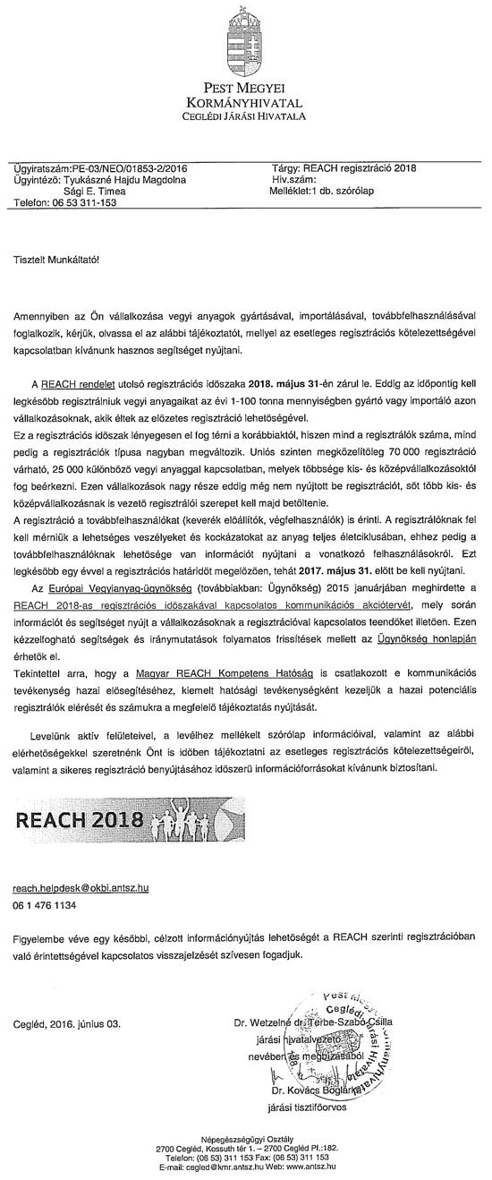 REACH regisztr�ci� 2018