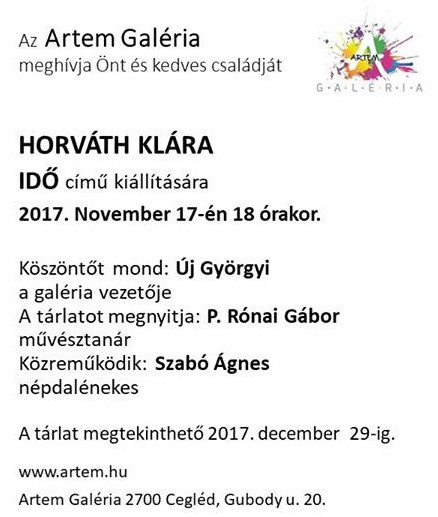 Meghívó Horváth Klára IDŐ című kiállítására