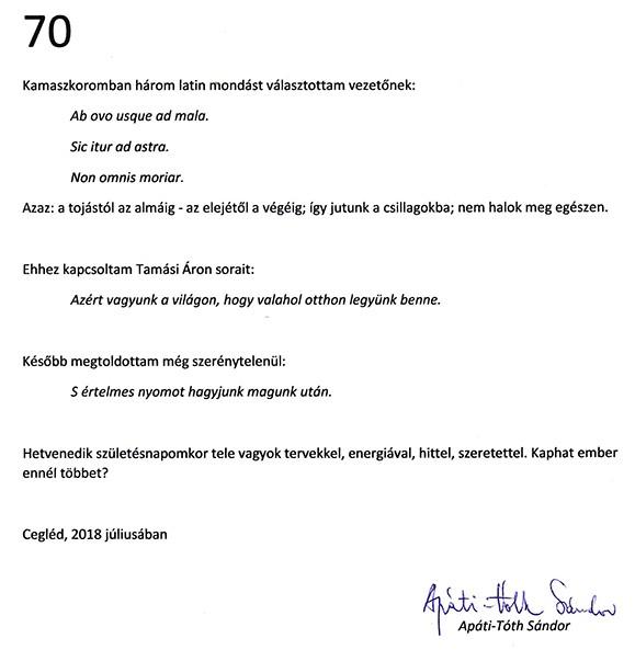 A.T.S. 70 - Apáti Tóth Sándor jubíleumi kiállítása az Artem Galériában