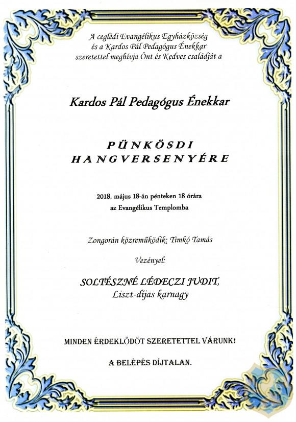 A Kardos Pál Pedagógus Énekkar Pünkösdi hangversenye 2018.