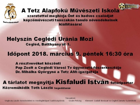 Meghívó a Tetz alapfokú Művészeti Iskola kiállítására