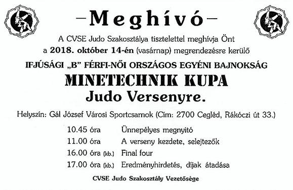 Meghívó Minetechnik judo versenyre 2018.10.14.