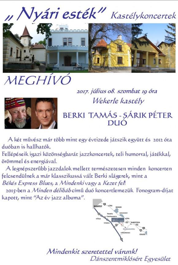 BERKI TAMÁS - SÁRIK PÉTER duó a WEKERLE KASTÉLYBAN