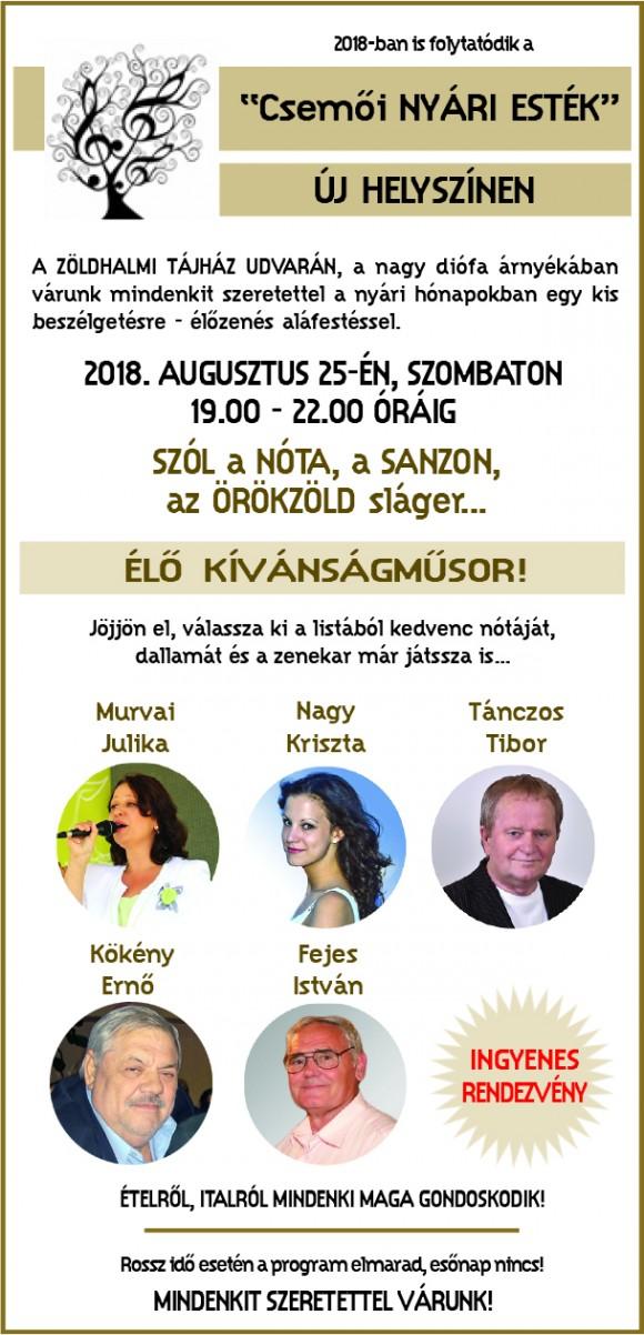 ÉLŐ KÍVÁNSÁGMŰSOR 2018.08.25. Csemő-Zöldhalom