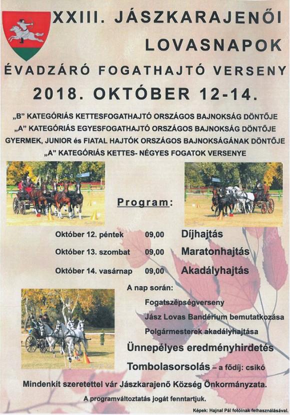 Jászkarajenői lovasnapok 2018. október 12-14.
