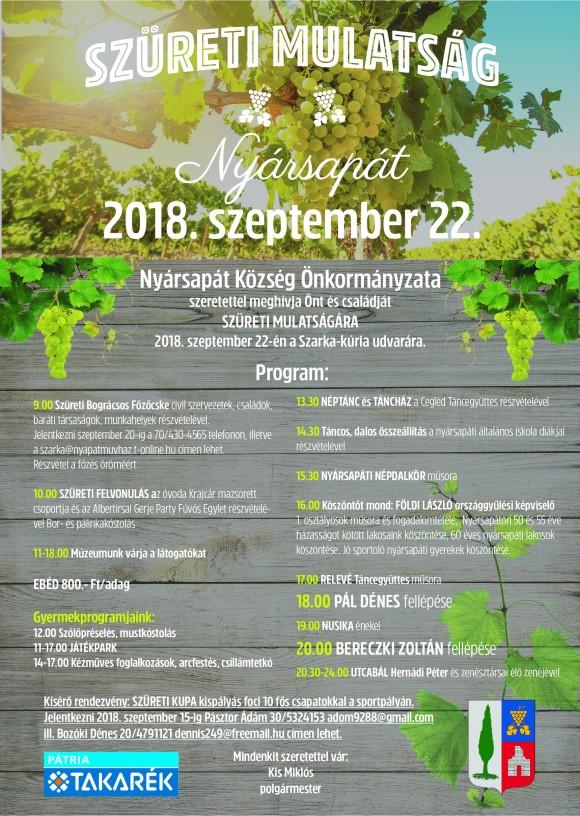 Szüreti Mulatság Nyársapáton 2018.09.22.