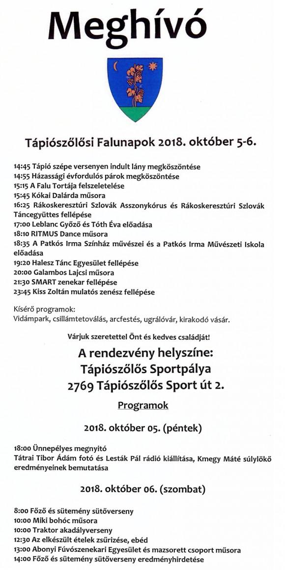 Tápiószőlősi Falunapok 2018. október 5-6.