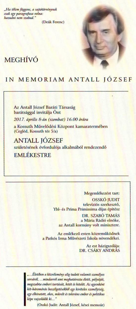 IN MEMORIAN ANTALL JÓZSEF