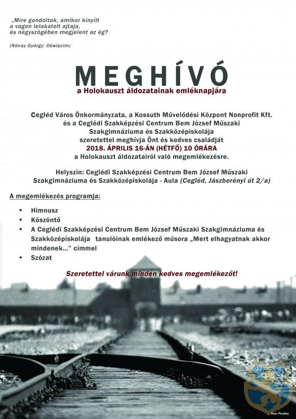 Meghívó a Holokauszt áldozatainak emléknapjára
