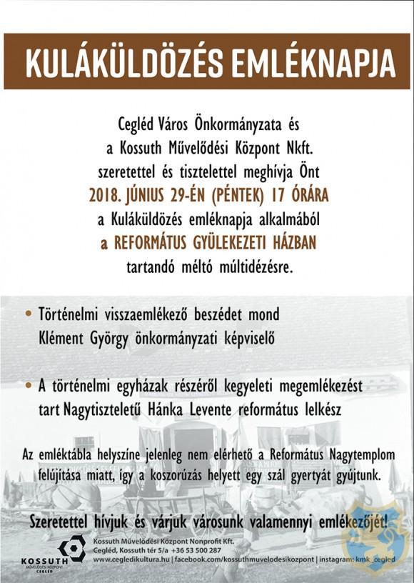 KULÁKÜLDÖZÉS EMLÉKNAPJA 2018.