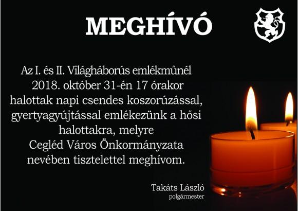 Halottak napi csendes koszorúzás 2018. október 31.