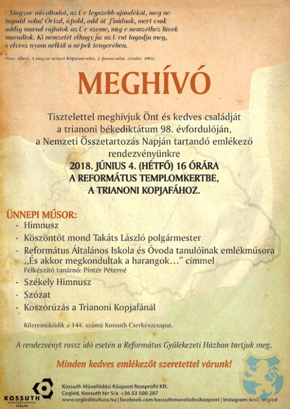 Nemzeti Összetartozás Napja Cegléden 2018.