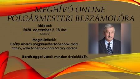 Meghívó online polgármesteri beszámolóra